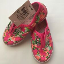 Circo Kids Girls Shoes Slip On sneakers Canvas Pink Floral Sz 10, 8 (k01)
