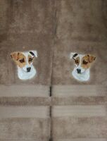 Jack Russell Terrier Dog Breed Bathroom SET OF 2 HAND TOWELS EMBROIDERED