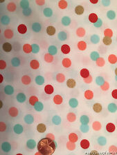 Confetti Dots Metallic Gold Accents Cotton Fabric BTY