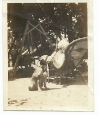 Pit Bull Vintage Photo Lady Lounging In Yard And Pit Bull Sitting By Her Side