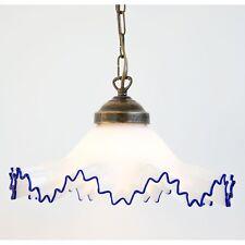 Lampadario a sospensione catena ottone con vetro BLU BIANCO MURANO 30 cm