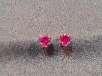Vintage 10K Yellow Gold Pink Created Ruby Heart Stud Pierced Earrings