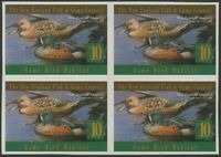 NZ Fish and Game Council 1996 $10 Shoveler IMPERFORATE block of 4 MNH
