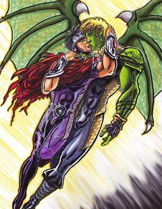 Wiccan Hulkling Young Avengers Gay Kiss 11 X 17 Art Print DC Comics Fan Art