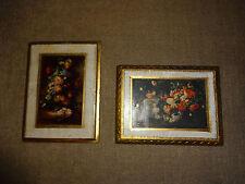 Set 2 Vintage Art Flower Picture Florentine Gold Gilt Wood Frames Made in Italy