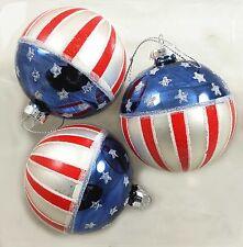 USA FLAG Americana Glass Ball Ornaments Box Set of 3 NEW IN BOX Patriotic Boxed