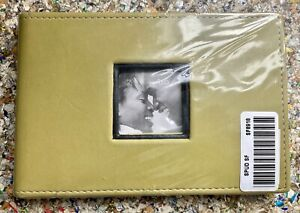 "NEW SEALED 4x6"" Photo Album Book Green Olive Leather Frame Wedding Travel Family"