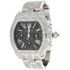 Mens XL Cartier Roadster Ref. W62007X Chronograph Fully Iced Diamond Watch 18 CT