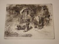 Félix BUHOT 1847-1898 GRAVURE EAU FORTE ORIGINALE IMPRESSIONNISME GARDIEN LOGI