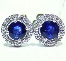 1.74CT 14K Gold Natural Round Sapphire Diamond Stud Halo Anniversary Earrings