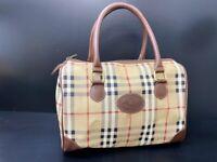 Auth Burberry Nova Check PVC Leather mini Boston Bag Hand Bag 58914451