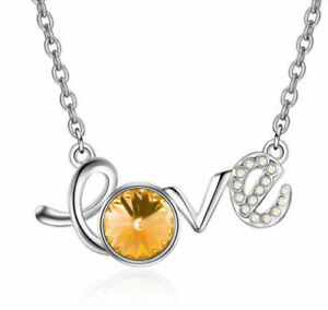 Fashion Womens LOVE Amber Crystal Rhinestone Silver Chain Pendant Necklace NEW