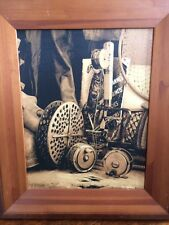 Sepia canvas print rustic wood frame fishing rod and reels, lodge man cave wall