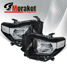 For 14-17 Toyota Tundra Pair Black Headlights Clear Turn Signal Reflector Lamps