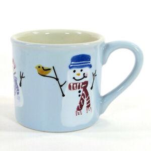 Hartstone Pottery SNOW PEOPLE 14oz Mug Snowman Christmas Blue Hand Painted