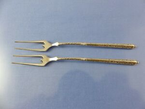 TRIANGLE FORM HANDLE SCROLL 2 HORS D'OEUVRE FORKS .800 SILVER BY unbranded ITALY