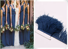 Navy Blue Ostrich Feather Trims Fringes Sewn on Feather 1 Yard  (USA)