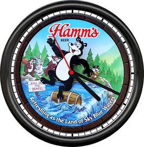 Hamm's Hamms Beer Bear Bar Tavern Barrel Waterfall Wildlife Sign Wall Clock