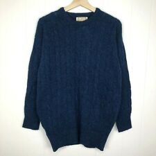 Vintage Alan Paine Sweater 38 Blue Shetland Wool Warm Winter ENGLAND Crew
