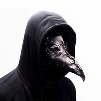 Bird Mask Cosplay Steampunk Plague Doctor Gothic Halloween Leather Mask Black
