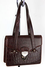 Aspinal of London Vtg Handbag Shoulder Bag Deep Shine Amazon Brown Croc