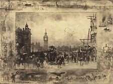FELIX -HILAIRE BUHOT FRENCH WESTMINSTER BRIDGE OLD ART PAINTING POSTER BB5411A
