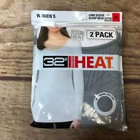 32 Degrees Heat Womens Size Medium White Gray Long Sleeve Scoop Neck 2 Pack Shir