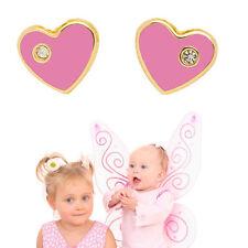 Mädchen rosa Herz Ohrstecker mit Stein Kinder Ohrringe aus Echt Gold 585 Neu