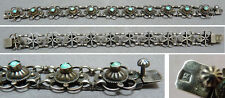 Beau bracelet ancien en argent massif + turquoise silver bracelet