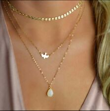 Crystal Sequins Soaring Doves Water Drop Pendant Necklace Gold toned