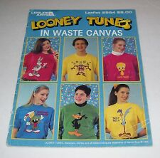LEISURE ARTS LOONEY TUNES IN WASTE CANVAS LEAFLET PATTERN BOOK #2564 1994 OOP