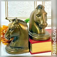 Vintage Antiqued Solid Molded / Cast Brass Horse Head Bookends / paperweights 2