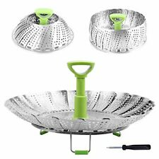 "New listing Basket Stainless Steel Vegetable Steamer Basket Folding Steamer (5.1"" to 9"")"