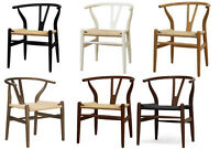 2x Danish Wishbone Y C24 Style Dining Chairs in Natural Black White Brown Walnut