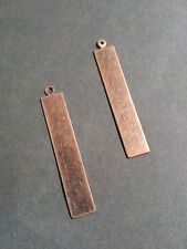 4 Metal Stamping Blanks Rectangle Charms Pendants Antiqued Copper Hand Stamping