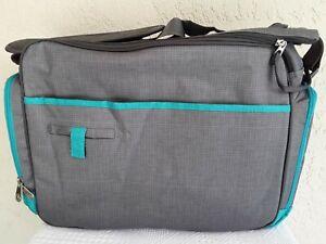 Fisher Price Diaper Messenger Bag Shoulder - Strap Gray Green Bottles Wipes EUC
