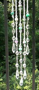 HANDMADE BEADED SUNCATCHER, BEAUTIFUL PINK/GREEN & CLEAR BEADS, PRISMS