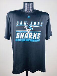 Men's Majestic San Jose Sharks Black Defenseman Performance Tee Shirt XL