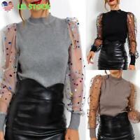 Women Sheer Mesh Long Puff Sleeve T-shirt Tops Casual Mock Neck Polka Dot Blouse