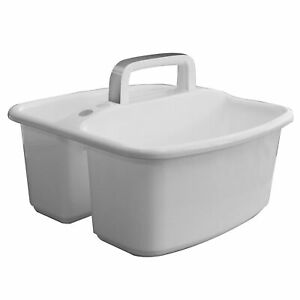 Gracious Living Large Home Divided Storage Tote Caddy, White w/Gray Carry Handle