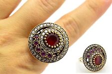 RUBY WHITE TOPAZ HURREM SULTAN 925 STERLING SILVER BRONZE WOMAN RING SIZE US 8.5