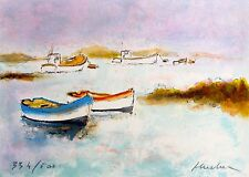 Urbain Huchet DEUX CANOES Hand Signed Limited Edition Art Lithograph