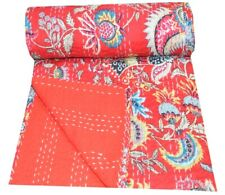 Indian Cotton Red Floral Print Kantha Quilt Twin Blanket Throw Handmade Bedspred