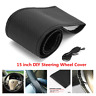 Breathable Microfiber Leather Car Steering Wheel Cover Hand Sewing W/ Needle