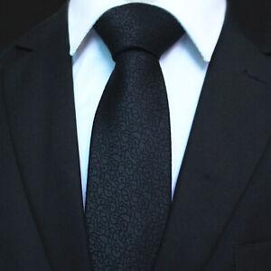 Celino Solid Black Floral 100% Woven Silk Men's Tie Necktie Premium Turkey Made