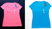 Tommy Hilfiger Women's T Shirt V Neck Tee Short Sleeve Flag Logo Solid