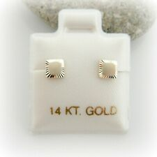 14K Solid Yellow Gold Princess Cut Cube Square Baby Girl Screw Back Earrings