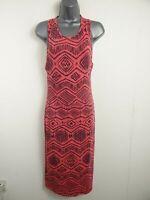 WOMENS APRICOT PINK & BLACK SHIFT DRESS UK 12