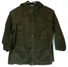Woolrich Womens Size 2XL Brown Denim Coat Jacket Hood Farm Trucker Outdoor Work