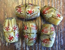 Vintage Venetian Caramel & Red Miliforie Focal Drum Art Glass Trade Bead Lot